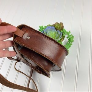 No Brand Bags - Tooled Brown Leather Handcrafted Saddle Bag   A328
